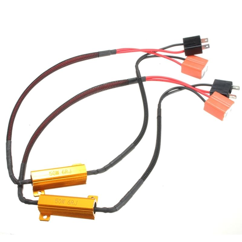 TOYL 2X H7 50W 6Ohm LED DRL Fog Light CANBUS Load Resistor Wiring Harness DC 12-24V 50w n connector rf dummy load termination load dc 3ghz 50 ohm