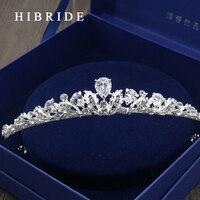AAA CZ Ślubne Tiara Crown King HIBRIDE Biżuteria White Gold Rzeczywistym Kolor Włosów Chluba Bridal Akcesoria HC00018
