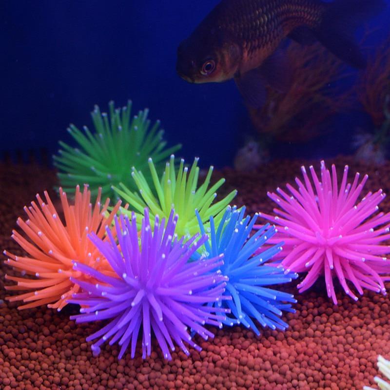 Aquarium Silicone Simulation Artificial Fish Tank Fake Coral Plant Underwater Aquatic Sea Anemone Ornament Decoration Accessory