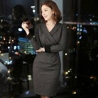 2015 New Autumn Women Dress Notched Full Sleeve Ol Business Attire High End Socialite Dresses Gray