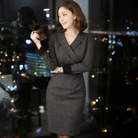2015 New Autumn Women Dress Notched Full Sleeve Ol Business Attire High End Socialite Dresses Gray