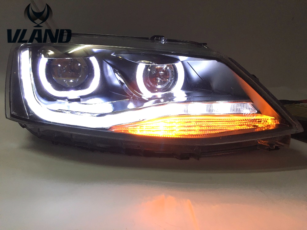 VLAND manufacturer for Car Head Lamp for 2012-2015 for Jetta LED Headlight Mk6 Front Light with Angel eyes DRL Xenon Lamp geely sc7 sl car front headlight head light transparent cover