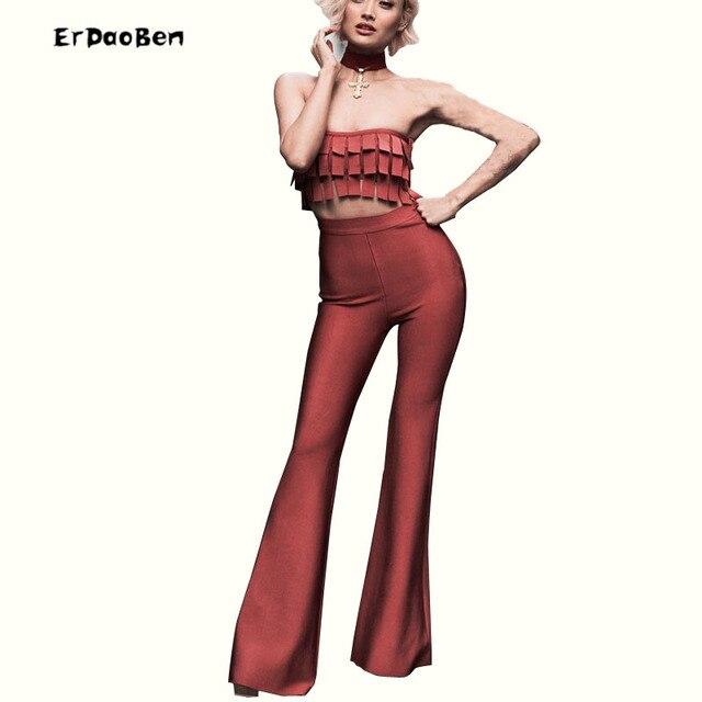 ERDEAOBEN 2017 Новый Две Пьесы Бинты Потрясающий Geometic Красный Sexy Bodycon женские наборы Десантный Оптовой DR520