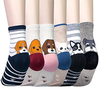 FEITONG 6Pairs Women Comfortable Cartoon Animal Cute Cotton Sock Slippers Socks New Autumn Winter Casual Breathable
