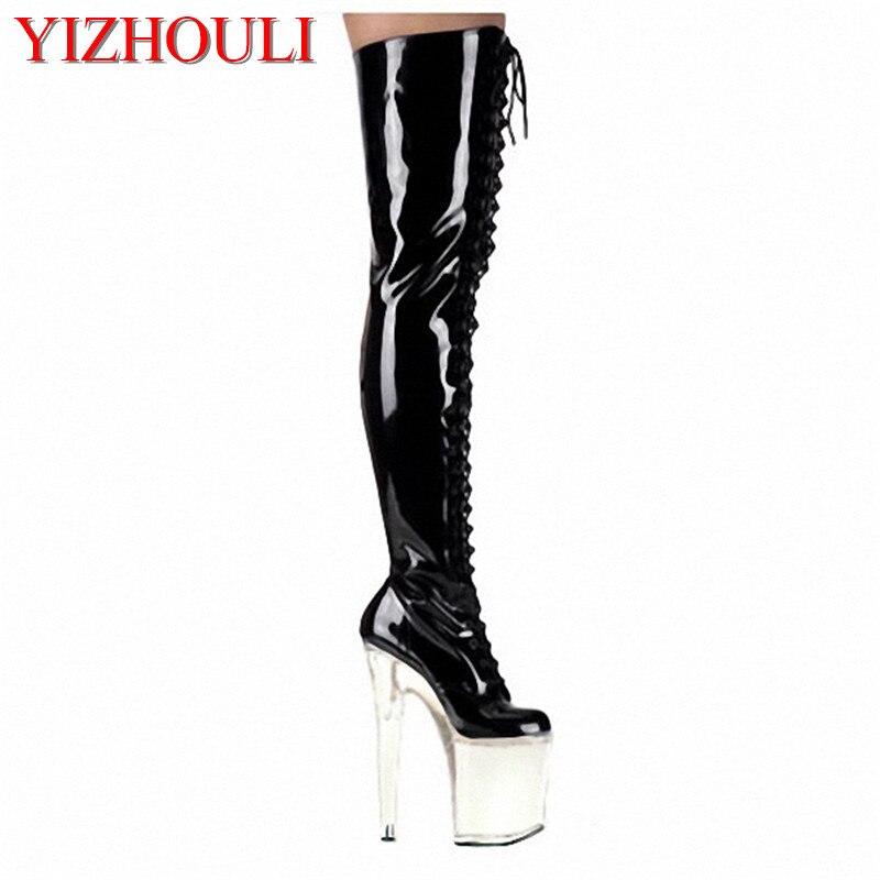 Super high heels, midnight store 20cm high heel seduced model womens shoes, baking paint, knee-high bootsSuper high heels, midnight store 20cm high heel seduced model womens shoes, baking paint, knee-high boots
