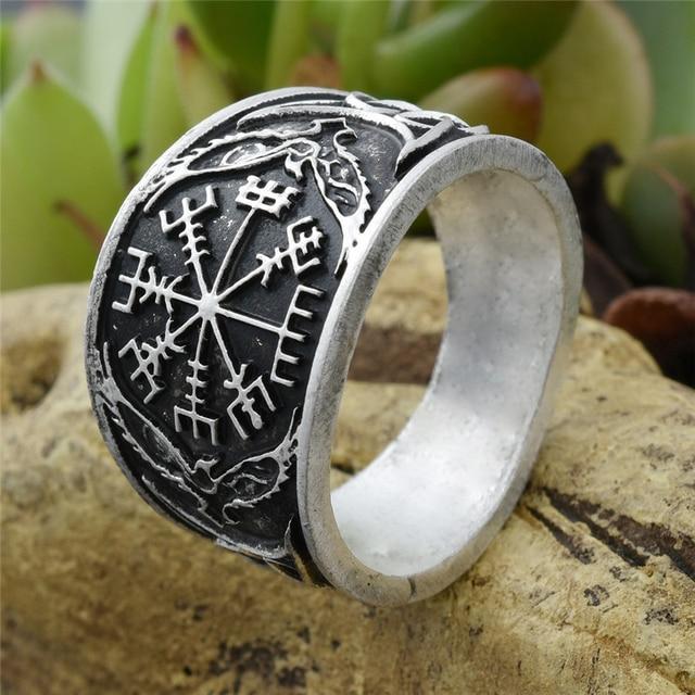 5pcs Vegvizir Compass Ring Signet Norse Viking Rings Nordic Rune