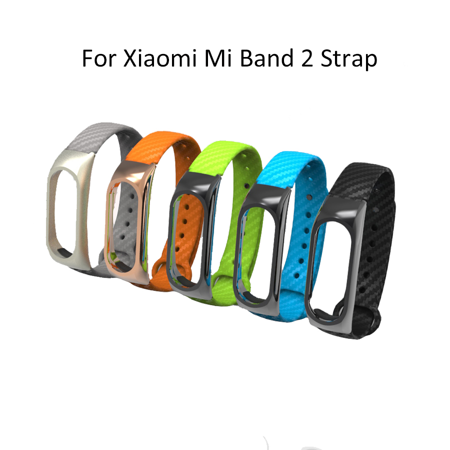 Replacement Carbon Fiber Strap with Metal Frame for Xiaomi Mi Band 2 Watchband for Mi band 2 Wearable Accessories Wrist Belt