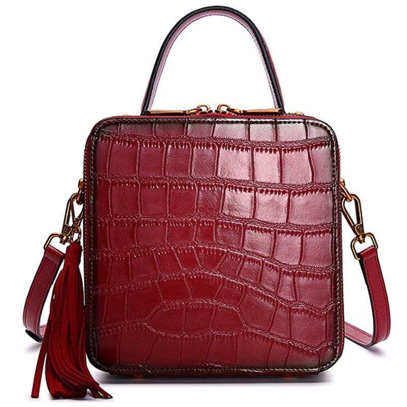 2019 Newest Ladies Shoulder Bag Genuine Leather Stone Pattern Handbag Women Famous Brands Tote Messenger Bag