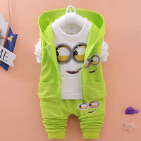 Newest 2017 Autumn Baby Girls Boys Minion Suits Infant Newborn Clothes Sets Kids Vest T Shirt