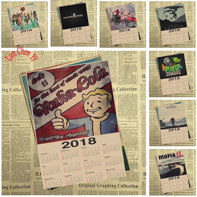 2018 game series Calendar Poster Office Gift Room Dining Home Decor wall sticker Design
