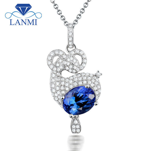 Sheep shape solid 18k white gold natural tanzanite pendants sheep shape solid 18k white gold natural tanzanite pendants necklace oval 7x9mm genuine diamond gesmtone jewelryfor aloadofball Images