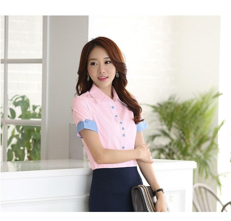 Camisa blanco Tops Señoras Cielo Nuevas Azul Verano Del Camisas Mujer Mujeres Corta rosado Manga Oficina Blanca De Blusas qfSTtwPf