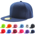 Boys Girls Solid Hip-Hop Baseball Cap Snapback Flat Peak Hat Visor Caps