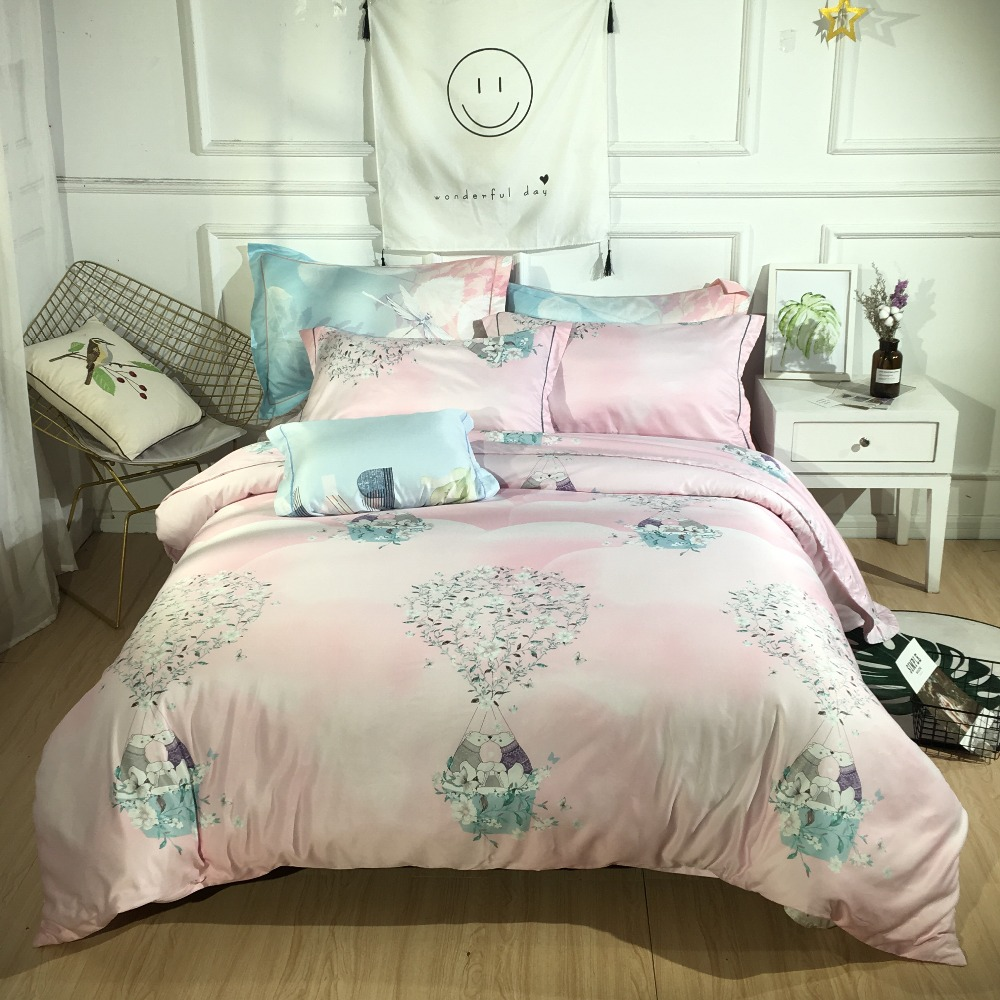 2019 New Style Bedding Set Morning Light Pink Bed Set Luxury Tencel Bed Sheet Queen Size Duvet Cover Set Bed Linen 3 Styles2019 New Style Bedding Set Morning Light Pink Bed Set Luxury Tencel Bed Sheet Queen Size Duvet Cover Set Bed Linen 3 Styles