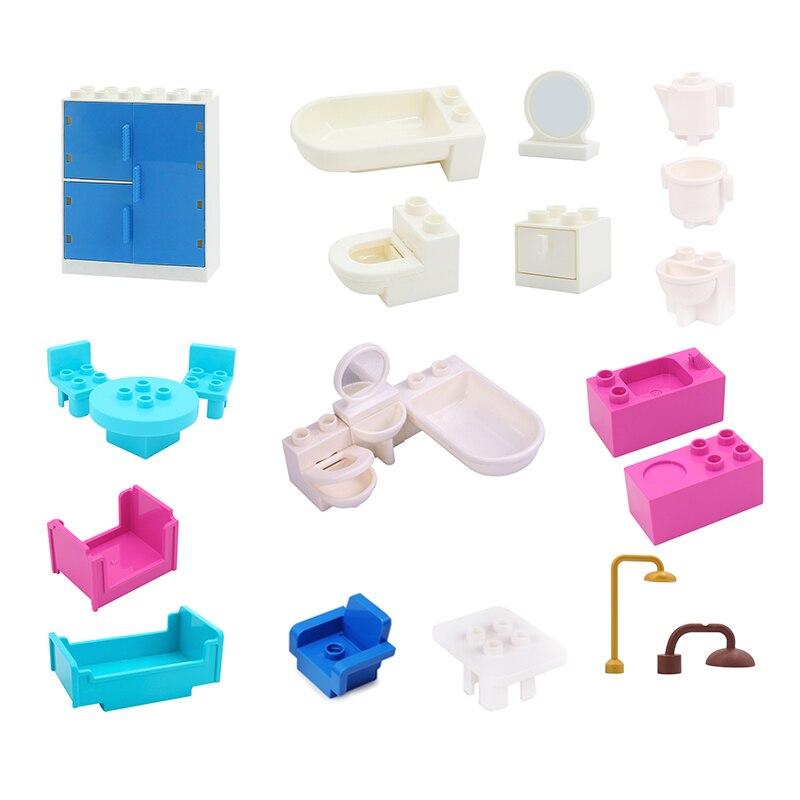 Gros blocs de construction Figure meubles salle de bain canapé chaise lit bricolage accessoires jouet pour enfants cadeau Compatible avec Duploes brique