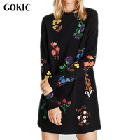 GOKIC 2017 Women New Flower Floral Embroidery Dress Female Black Elegant Vintage Long Sleeve Casual Loose