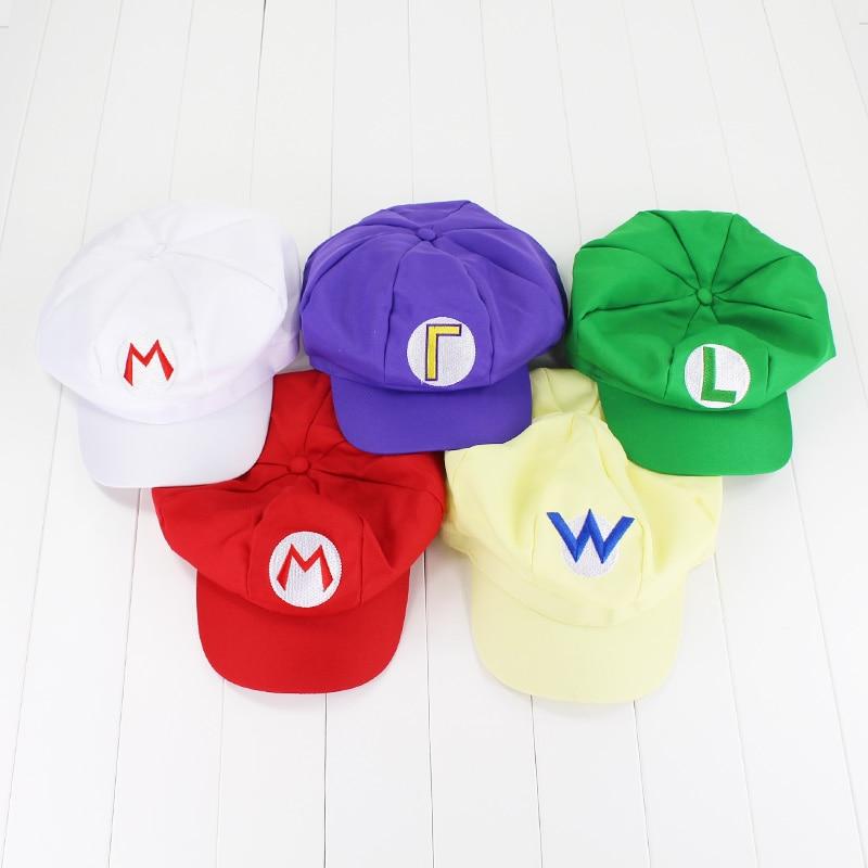 Super Mario Bros Caps Cotton Hat Mario Luigi Cosplay Buckle Hats Children Adult Hats Cap Plush Toys