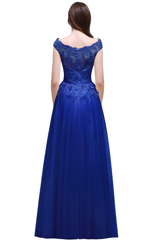 Blue Lace Long Prom Dresses