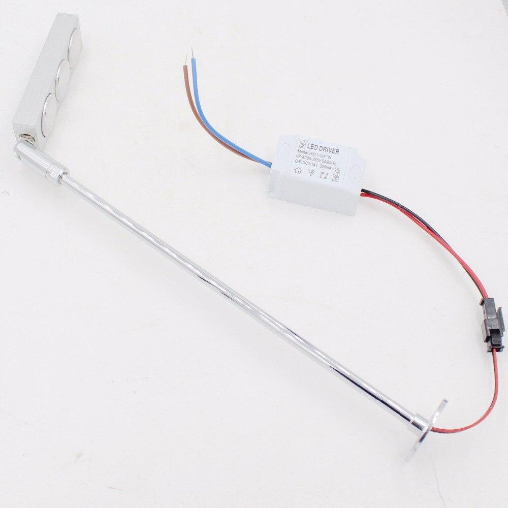 4PCS 3W LED Pole Light AC85V 240V input Fixture Boutique Cabinet Table Picture Spot Post Lamp