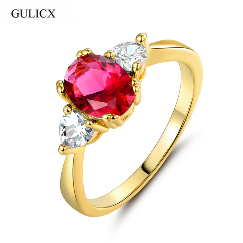 GULICX High Quality New Pure Gold Color Crytal Red Zircon CZ Rings For Women High Quality Free Shipping R093