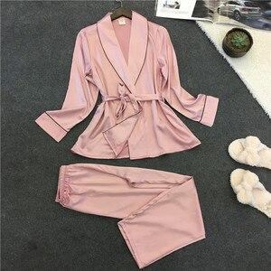 Image 4 - Voplidia פיג מה חלוק סקסי חלוק רחצה נשים 2020 פיג מה סט חורף תחרה כתונת לילה הלבשת פיג מה Feminino Pyjama בגדי בית