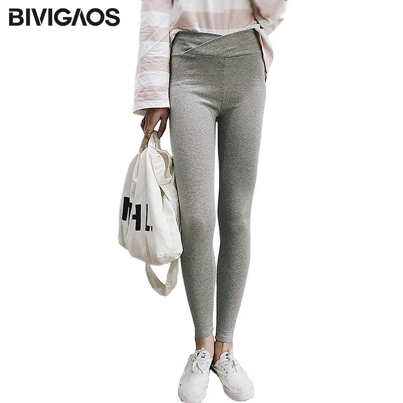 BIVIGAOS Spring Fall Womens Thin Cotton Leggings Intersect High Waist Legging Pants Slim Workout Leggings Women Pantolon Femme