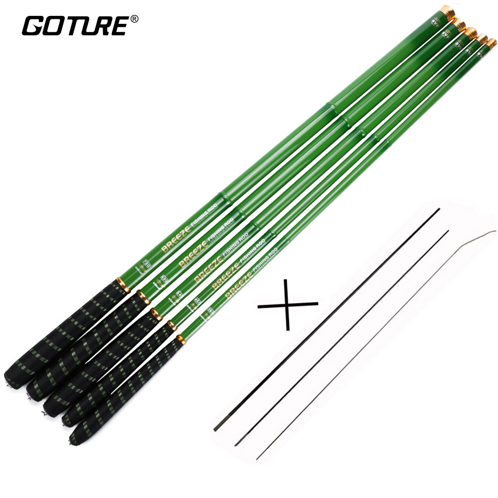 Goture Carbon Fiber Telescopic Fishing Rods Ultra-light Taiwan Stream Kutub 3.6-7.2M Batang Ikan Mas dengan Spare Top Tiga Bagian