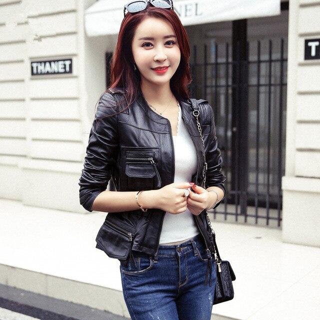 Vintage PU Leather Jacket Women 2017 Faux Leather Jackets Black Zipper Jackets Winter Biker Motorcycle Jacket Woman Leather Coat