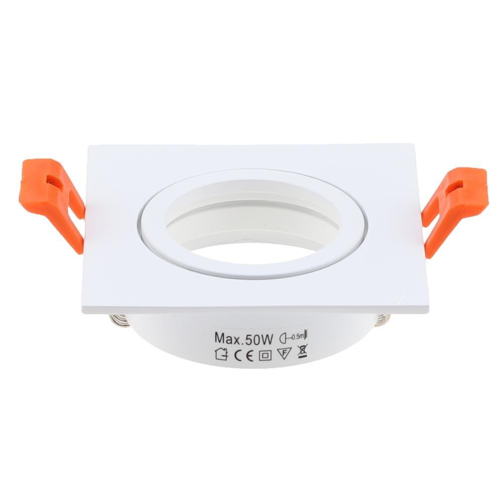 Hot Sale Square White Color Aluminum LED Downlight Light Holder GU10 Fitting Fixture Frame Spot Light Bracket For MR16 GU10 Spotlights     - title=