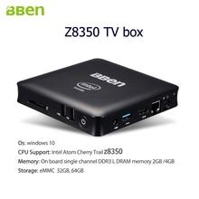 Bben Quad Core TV Box Mini PC Придерживайтесь TV Box Intel z8350 Процессор HDMI WIFI BT4.0 немой вентилятор windows10 иврите русский французский