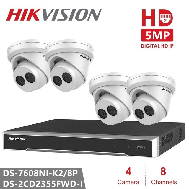 Hikvision 5MP Security Camera Kits CCTV 4PCS DS-2CD2355FWD-I IP Network Turret Camera Video Surveillance for Home / Office