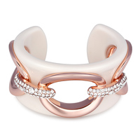 Kemstone Rose Gold Color Hollow Crystal Cuff Bracelet For Women Lady Jewelry Gifts