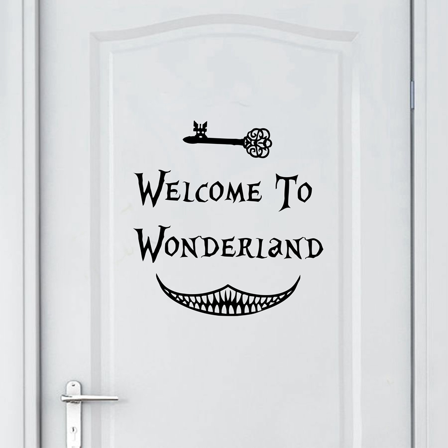 fdb34581e4a84 Alice in Wonderland Duvar Sticker sanat dekoru Hoş geldiniz Alice in  Wonderland Duvar Çıkartmaları Çocuk Odası Duvar Kapı Dekorasyon