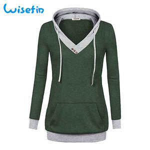 Wisefin Maternity Tops Maternity Hoodie Long Sleeve Fall Winter Patchwork Pregnancy Hooded Clothes Pocket V Neck Pregnant Hoodie