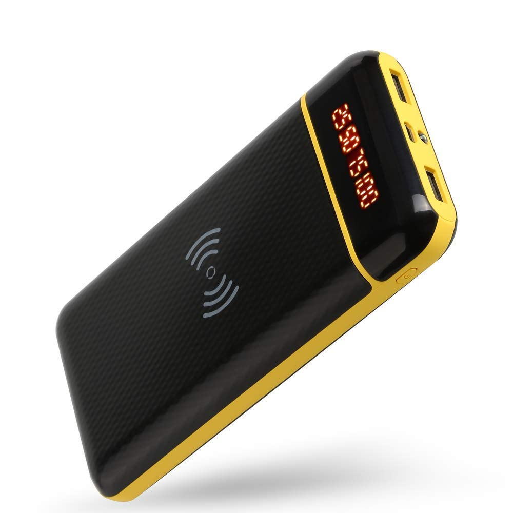 Product description Color: BLACK 20000mAh wireless charging mobile power Feature It can supply the power for 3 devices: 2 wired feature phone