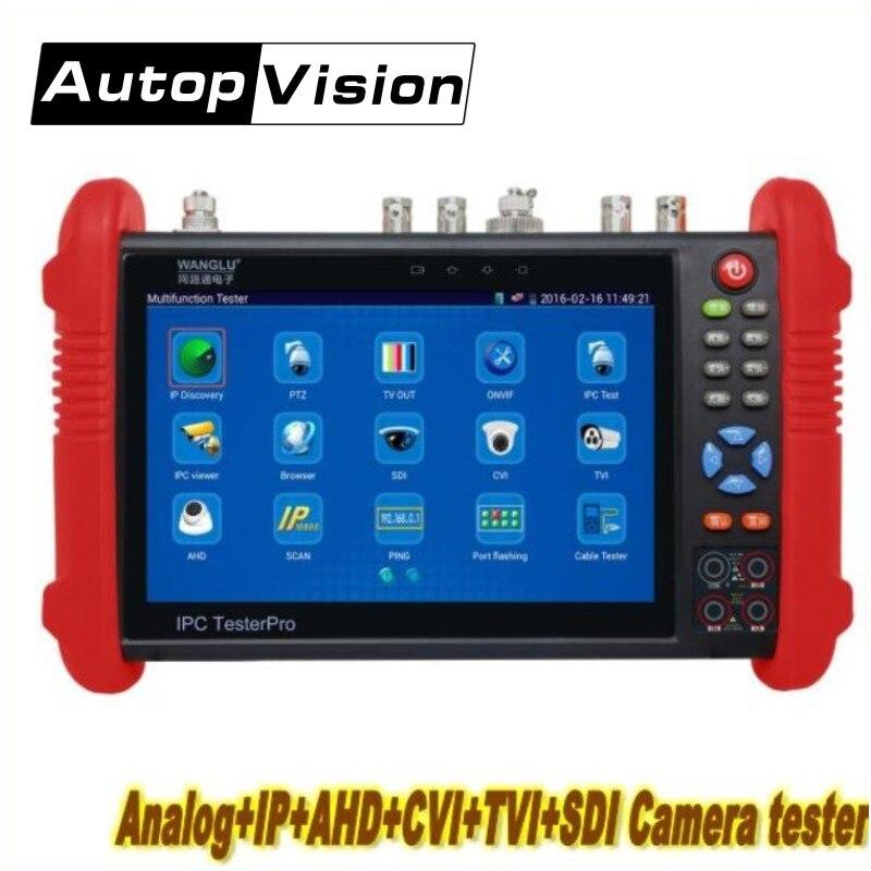 Wanglu IPC9800 7 pouce Moniteur de Testeur de VIDÉOSURVEILLANCE TVI CVI AHD SDI CVBS IP HD Coaxial Testeur de Caméra avec WIFI/ poE puissance/sortie HDMI