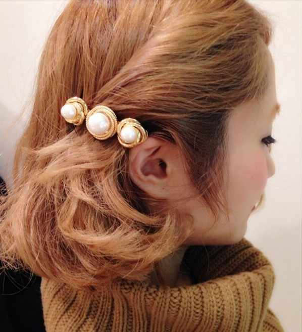 Charming Round Simulated Pearl Decor Barrettes Women Head Jewelry Headwear Hairpins Clips For Hair Accessories