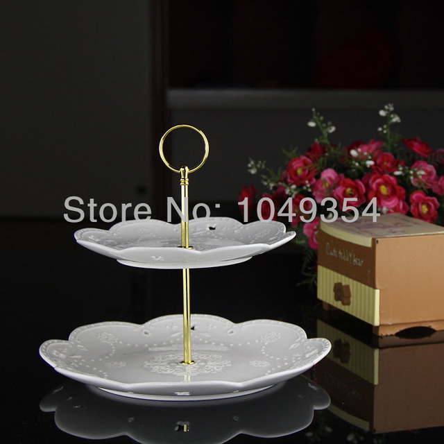 Cheap shipping- 2 tiers round style cake stand rods/ceramic fruit tray handles mixed & Cheap shipping 2 tiers round style cake stand rods/ceramic fruit ...
