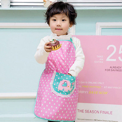 Children Plain Cooking Apron Kid Kitchen Cooking Baking Apron Kids Pink Dots Painting Bi ...