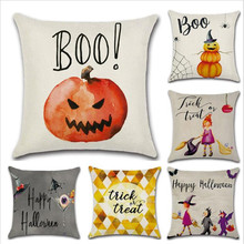 WINLIFE Pillowcase 45*45cm Linen Pillow Cases  Halloween Thanksgiving Day Decor