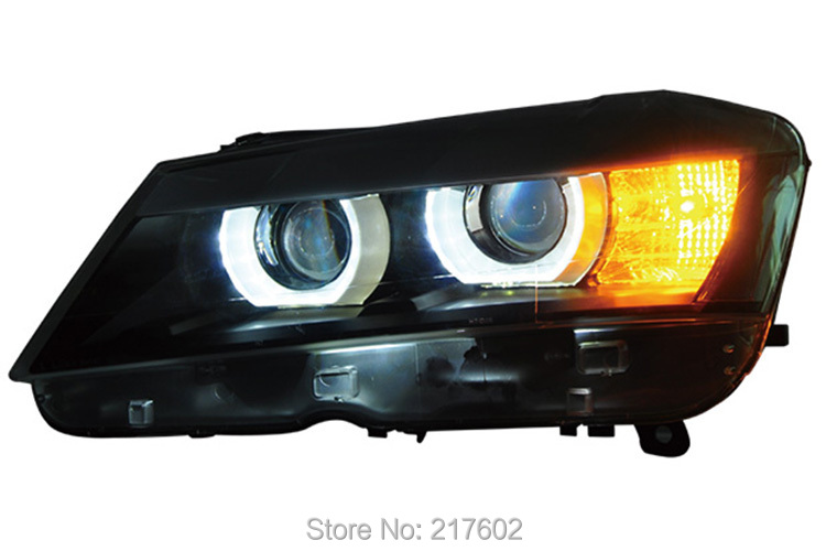 Pour BMW X3 2012 Projecteur Tête lampes LED Angel Eye DRL lumière Faible faisceau double lentille haute faisceau projet lentille Haute H7 Low H7 Noir LF