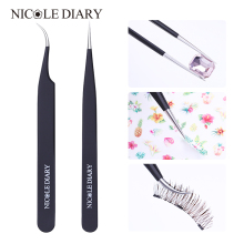 NICOLE DIARY Straight Curved Tweezer Rostfritt Stål Nail Sticker Rhinestone Picker Matt Svart Nail Art Tool 1 PC