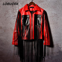 PU Leather Male Jacket Coat Nightclub Bar DJ DS Stage Costumes Red Black Tassels Leather Outerwear