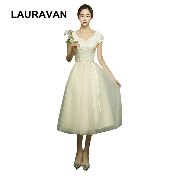 Champagne Corset Tulle Bridesmaid Dress Short Teen Formal Tea Length