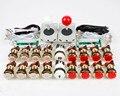 New 2 Player Arcade diy kits Control parts 2x USB Encoder to Joystick PC + 2x 5Pin Rocker + 16 Gold LED Illuminated Push buttons