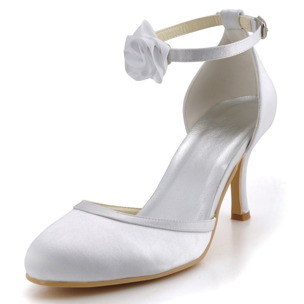 EL-0114 Ivory Wedding Shoes Size 11 Almond Toe Flower High Heel Satin woman lady bride prom bridal evening party pumps