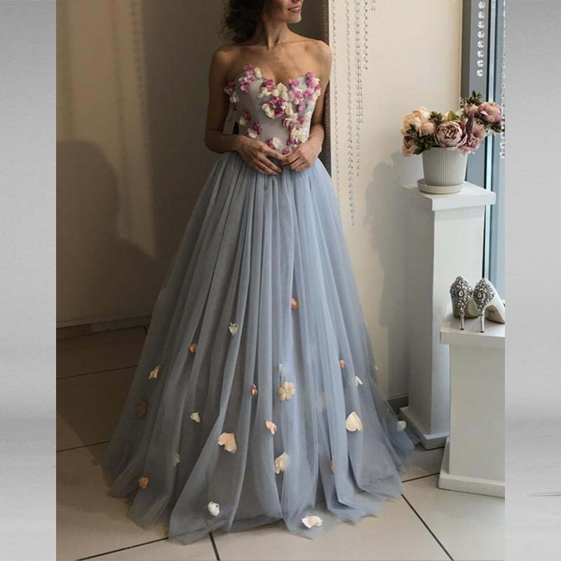 Gray Elegant Long   Evening     Dresses   For Wedding Tulle Handmade Flowers New Women Formal Party Gowns Vestido De Festa