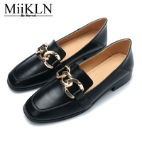 Miikln Дамская обувь чёрный; коричневый квадратный носок женские туфли лодочки на квадратном каблуке из микрофибры на низком каблуке Женский