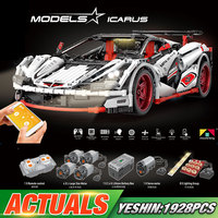 20087 DHL серия Yeshin Technic совместима с новым MOC-16915 белый гоночный автомобиль набор Дети строительные блоки кирпичи приложение RC автомобили
