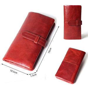 Image 2 - Women Fashion RFID Red Color Long Wallet Genuine Oil Wax Cowhide Leather Bifold Wallets Purse Vintage Designer Coin Purse